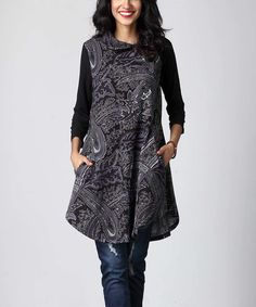 Take a look at this Charcoal Floral Shawl Neck Tunic today!