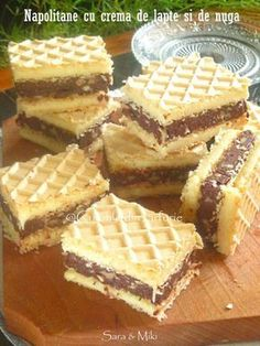 Napolitane cu crema de lapte si de nuga Desserts With Biscuits, No Bake Desserts, Delicious Desserts, Romanian Desserts, Romanian Food, Baking Recipes, Cake Recipes, Good Food, Yummy Food
