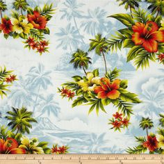 Hoffman Tropicals Hibiscus & Palm Tree Denim from @fabricdotcom  From Hoffman California International Fabrics, this cotton print is perfect for quilting, apparel and home décor accents. Colors include blue, white, green, brown, yellow and coral.