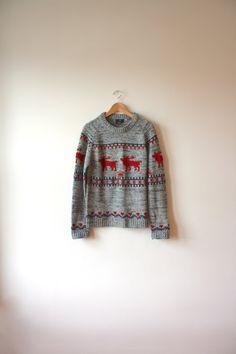Fair Isle Reindeer Charcoal Grey Sweater Mens by flickaochpojke, $35.00