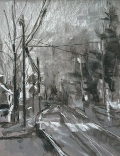 Cokesbury Road in the Rain - plein air greyscale pastel on grey PastelMat Veggie Dogs, Landscaping Supplies, Dog Recipes, Healthy Dog Treats, Hanging Pictures, Homemade Dog, Art Journal Inspiration, Art Club, Easy Drawings