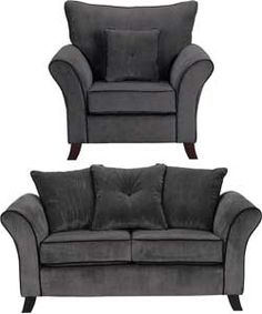 Daisy Regular Sofa and Chair - Charcoal with Black Piping.