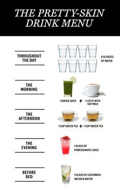 A Drink Menu for the Prettiest Skin of Your Life. Home Remedies For Clear Skin Overnight Beauty Care, Beauty Skin, Face Beauty, Clear Skin Overnight, Beauty Hacks For Teens, Beauty Ideas, Diy Beauty, Beauty Guide, Beauty Tutorials