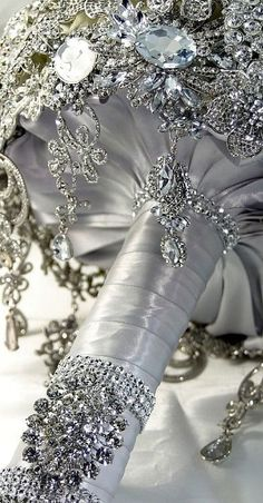 If you like bling this bouquet might be for you! Bling Wedding, Wedding Flowers, Dream Wedding, Wedding Day, Wedding Story, Purple Wedding, Wedding Dresses, Broach Bouquet, Wedding Brooch Bouquets