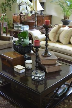 Decorating with Tea Caddies~ a caddy on the side table in the background as well as an antique inlaid box on the coffee table in the foreground...Gorgeous arrangement from the Polohouse