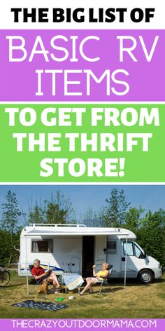 Find these RV Must Haves CHEAP so that you can save your money for cooler stuff! See my printable checklist of the RV essentials you should buy at the thrift Camping Must Haves, Camping Set, Camping Items, Camping Packing, Camping Supplies, Camping Essentials, Camping Products, Diy Camper Organization, Camper Checklist