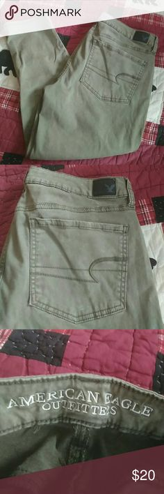 Selling this OLIVE AMERICAN EAGLE SATIN CROP JEGGING on Poshmark! My username is: romeo2188. #shopmycloset #poshmark #fashion #shopping #style #forsale #American Eagle Outfitters #Pants