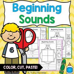 These Beginning Sounds Cut and Paste Worksheets are perfect for kindergarten or grade morning work, word work, literacy centers, or homework! Handwriting Activities, Alphabet Activities, Preschool Activities, Alphabet Practice Sheets, Beginning Sounds Worksheets, Phonemic Awareness Activities, Cut And Paste Worksheets, Basic Math, Preschool Printables