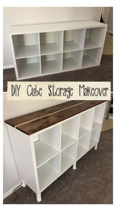 Diy Furniture Projects, Repurposed Furniture, Furniture Makeover, Home Projects, Bookshelf Makeover Diy, Diy Storage Furniture, Rustic Painted Furniture, Diy Living Room Furniture, Cube Furniture