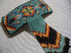 Square stitched beaded Two Feather from Debs Visions