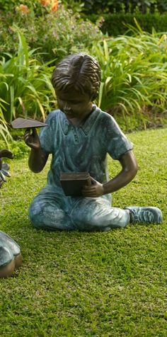 Contemplating the exhilaration of flight, our Boy Flying Paper Airplane Statue transforms gardens and meditation areas into sanctuaries of calming repose.