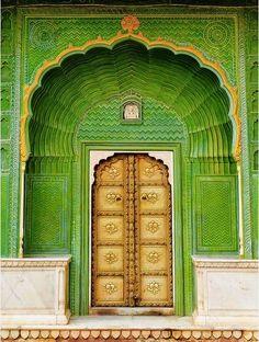 Beautiful green and gold door in India.