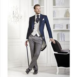 Custom made Italian wool Black Morning suit Wedding Suits For Men Best man's 3 Peices Suits(Jacket+Pants+vest)