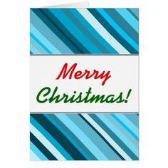 Christmas; Ocean-Inspired Blue/Teal/Aqua Stripes Card - Xmascards ChristmasEve Christmas Eve Christmas merry xmas family holy kids gifts holidays Santa cards