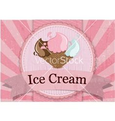 Ice cream vintage style poster vector - by bejotrus on VectorStock®
