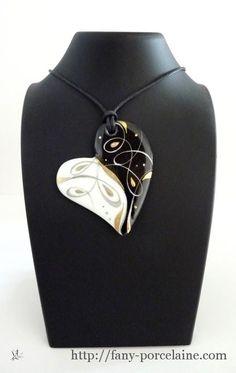 Atelier porcelaine pendentif Coeur porcelaine nuit doree
