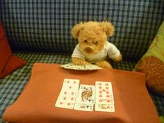 Misiu is playing patience Teddy Bear Cartoon, My Teddy Bear, Cute Teddy Bears, Teady Bear, Giant Teddy, Teddy Bear Pictures, Teddy Toys, Girly Drawings, Paddington Bear