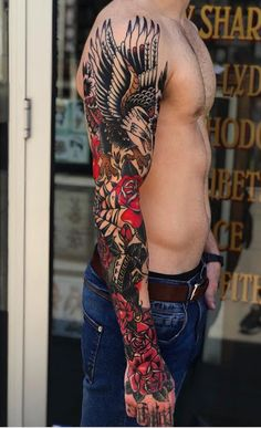 Why is old school tattoo popular all over the world? Old Tattoos, Great Tattoos, Body Art Tattoos, Tattoos For Guys, Tatoos, Arm Sleeve Tattoos, Arm Tattoo, Old School Tattoo Sleeve, Manga Tattoo