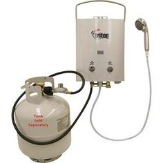 This portable hot water heater shower is great for camping trips and emergency backups during power outages. The shower unit features adjustable water flow and heat, automatic ignition, and a regulator and hose for a propane tank. Camping Survival, Camping Gear, Camping Hacks, Emergency Preparedness, Camping Water, Backpack Camping, Camping Guide, Backpacking Gear, Survival Gear