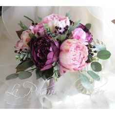 Boho wedding bouquet. Plum purple and pale pink peonies, rich mauve... ($135) ❤ liked on Polyvore featuring home, home decor, floral decor, peony bouquet, pink home decor, boho style home decor, peony flower bouquet and pink rose bouquet