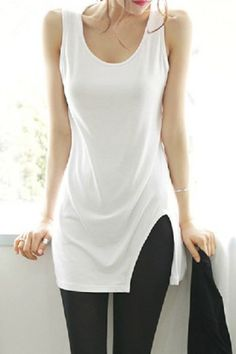 Casual Scoop Neck Solid Color Slimming Tank Top For Women