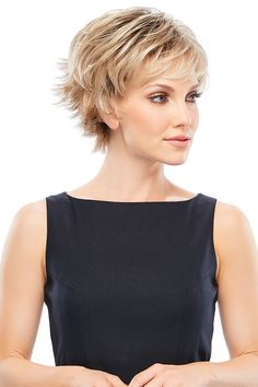 """Jazz Wig by Jon Renau This wig features a playful shag style with flipped out layers and capless cap construction. This short pixie wig offers fuss free style, light-weight comfort and breath-ability throughout the day. Length B 4.25"""" C 4.75"""" S 3.25"""" N 2.5"""" SKU 5361 Collection O'solite Color Shown 6F27 Cap Construction Open Cap Cap Size Average Hair Type Synthetic Weight 2.3 oz Short Pixie Wigs, Short Lace Front Wigs, Long Pixie, Pixie Cuts, Short Hair Cuts For Women, Short Hairstyles For Women, Short Hair Styles, Pixie Hairstyles, Pixie Haircut"""