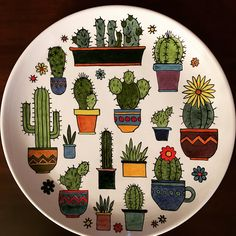 colored this same page!In colored this same page! Pottery Painting Designs, Pottery Designs, Paint Designs, Ceramic Cafe, Ceramic Pottery, Pottery Art, Cactus Drawing, Cactus Art, Painted Plates