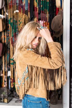 ☮ American Hippie Bohemian Boho Style ~ Fringe Leather Jacket!