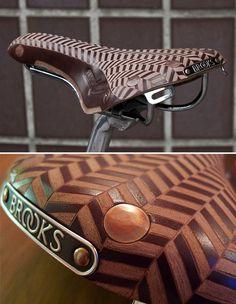 tweed run custom leather engraved brooks bicycle saddle
