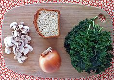 Gluten-Free Stuffing with Kale, Caramelized Onions, and Mushrooms.use flax egg Vegan Gluten Free, Vegan Vegetarian, Vegetarian Recipes, Caramelized Onions And Mushrooms, Stuffed Mushrooms, Gluten Free Stuffing, Stuffing Ingredients, Gluten Free Sides Dishes, Pregnancy Nutrition