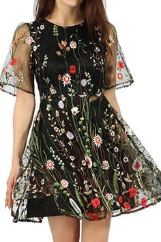 New Women s Ladies Short Sleeve Floral Embroidered Mesh Skater Mini Spring  Dress (14) cc28ecf90