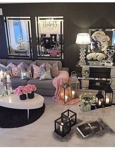Girly room ideas decoration for my girly room or office girl dorm decorations cute girly room Living Room Designs, Living Room Decor, Bedroom Decor, Living Rooms, Glam Living Room, Entryway Decor, Sala Glam, Decoration Chic, Woman Cave