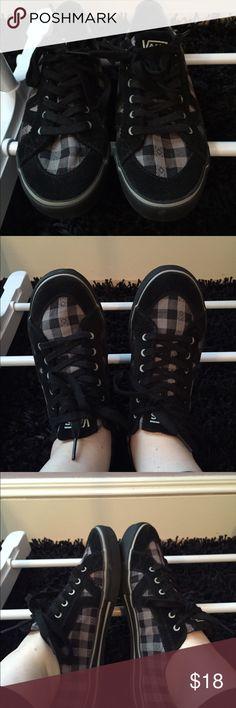 Black Vans Plaid lace up vans. Worn once. Size women's 9. Open to offers and bundles. Vans Shoes
