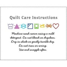 Quilt Wash Instructions Label with Writing and Symbols in Handwriting, Rainbow Quilting Quotes, Quilting Tips, Quilting Tutorials, Quilting Projects, Sewing Projects, Machine Quilting, Sewing Tips, Sewing Ideas, Tags