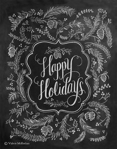 Happy Holidays Sign - Holiday Decor - Holiday Chalkboard Art - Chalkboard Decor - Rustic Christmas Decor