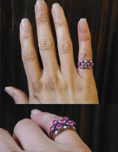 Size 6 Antique Victorian 14 Karat Rose Gold Ruby and Pearl Hinged Stacking Rings,3 Band Ring,Nontraditional Engagement Ring,Estate Ruby Ring