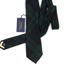 Polo Ralph Lauren Navy/Green Plaid Wool Hand Made Tie NEW #PoloRalphLauren #NeckTie