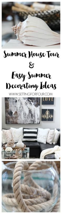 See my Summer House Tour and easy Summer Decorating Ideas! Enter to win a $200 Painted Fox Gift Card too! Happy Summer! www.settingforfour.com