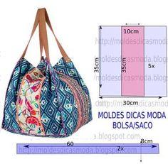A ilustração do molde de bolsa estampada não tem valor de costura. Este trabalho tem como objetivo ajudar quem não tem impressora.