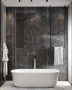 Interior Design Renderings, Interior Architecture, Gray Interior, Bathroom Interior, Washroom, Master Bathroom, Adobe Photoshop, Interiores Design, Master Suite