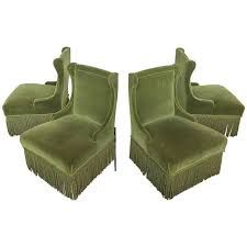 view this item and discover similar slipper chairs for sale at set of four napoleon iii slipper chairs in green velvet with bouillon fringe
