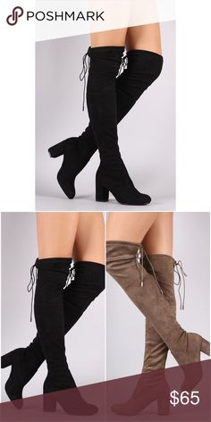 "Thigh High Suede Boots - Black Heel:3"" Collar drawstring Pull on construction Faux suede material Feel free to ask me any questions Thanks for browsing my closet! Shoes Over the Knee Boots"