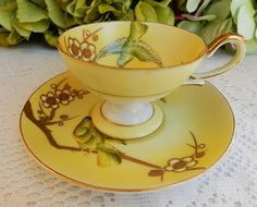 Vintage Shofu Japanese Occupied Japan Porcelain Demitasse Cup & Saucer Birds Gold