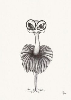 Ostrich Illustration black and white poster - Diy Kunst Pencil Art Drawings, Cool Art Drawings, Art Drawings Sketches, Cartoon Drawings, Easy Drawings, Animal Drawings, Drawing Ideas, Cute Drawings Of Animals, Really Cool Drawings