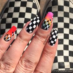 Checker checkered checkerboard rainbow flame tana mongeau na. - Make-up + NailsChecker checkered checkerboard rainbow flame tana mongeau nails nail art Best Acrylic Nails, Acrylic Nail Designs, Checkered Nails, Acryl Nails, Fire Nails, Nagel Gel, Gorgeous Nails, Nail Inspo, Nails On Fleek