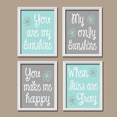 Aqua Grey Gray You Are My Sunshine Set of 4 Wall Art Decor Prints Poster Nursery Child Kid Room Typography on Etsy, $33.00