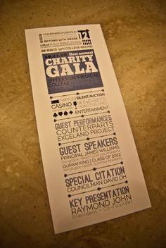 An idea on the gala invitations. Again keeping with the idea of sustainability, the invites are also printed on recycled paper.