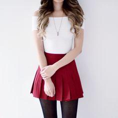 Pleated Tennis Skirt - Dark Red