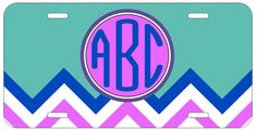Personalized Monogrammed Chevron Turquoise License Plate Custom Car Auto L103
