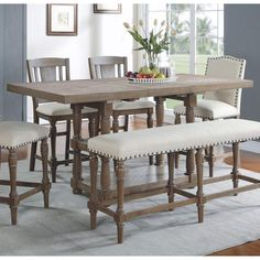 Fortunat Counter Height Extendable Dining Table - Dining Set - Ideas of Dining - Rustic antique kitchen idea. Tall Kitchen Table, Kitchen Island With Seating, Counter Height Dining Table, Extendable Dining Table, Tall Dining Room Table, Round Dining, Bar Height Table Diy, Kitchen Dining, Small Dining
